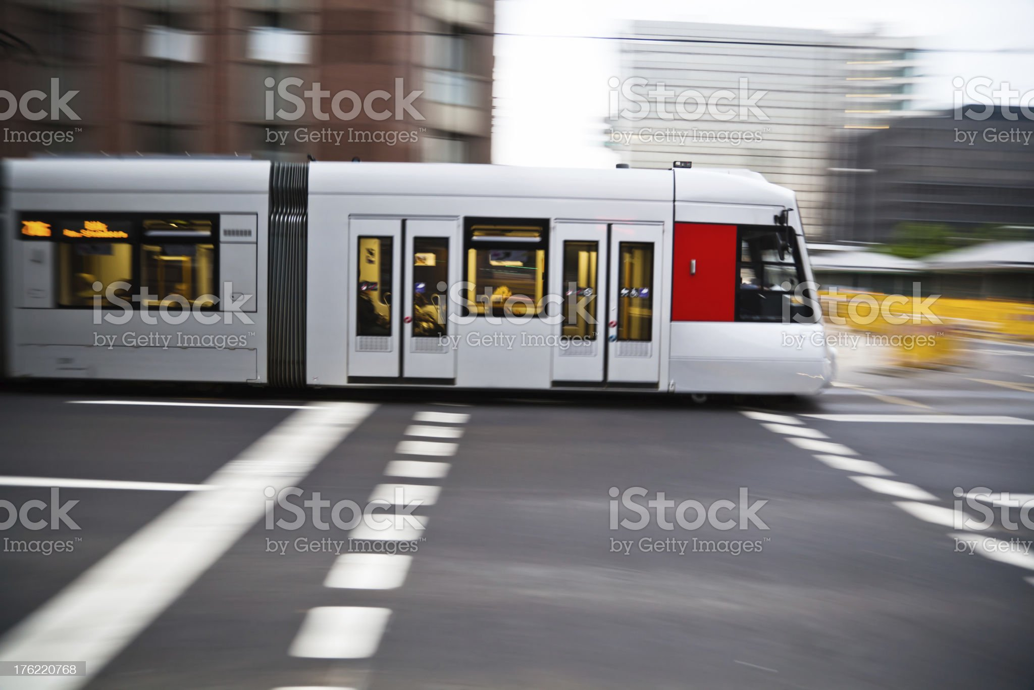 tram in motion royalty-free stock photo
