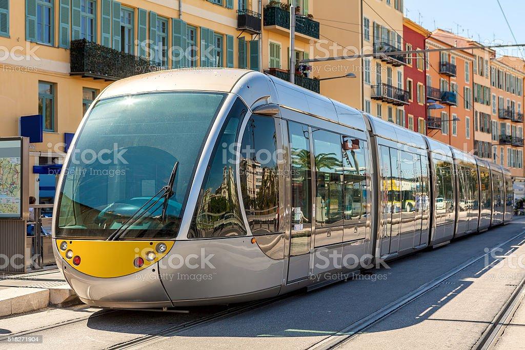 Tram in Nice, France. stock photo