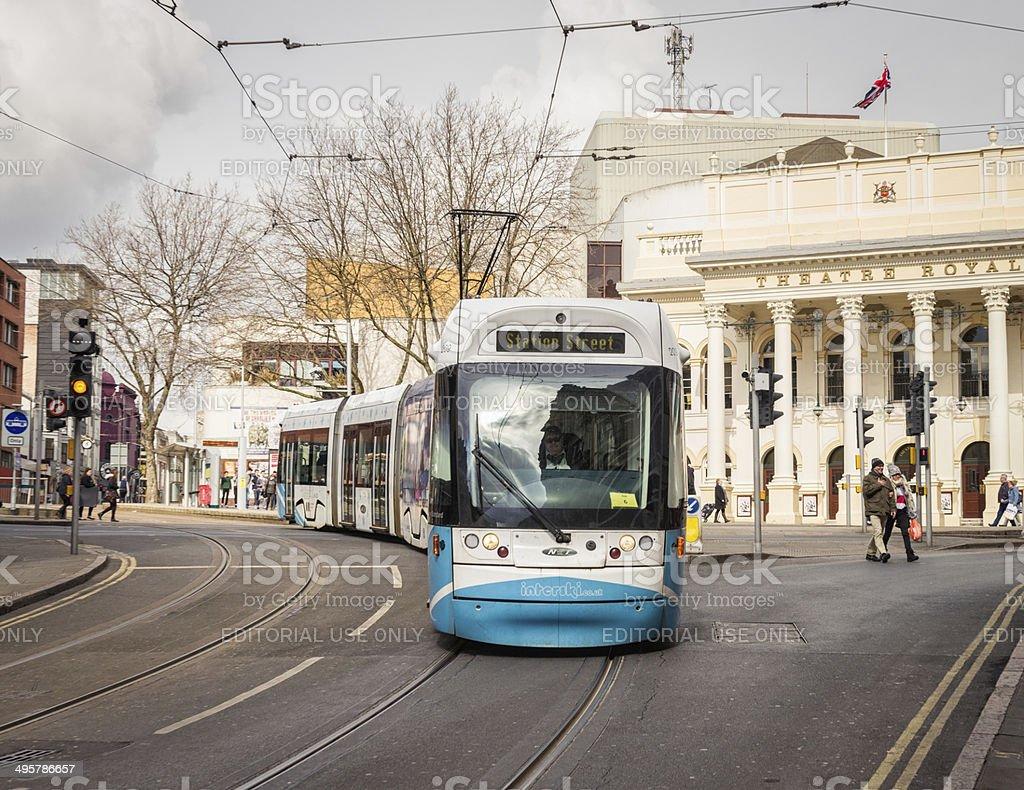 Tram in Nottingham stock photo