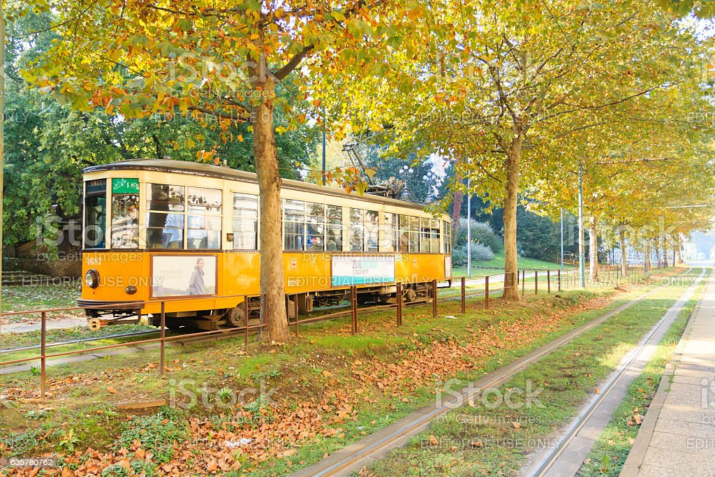 Tram in perspective from Milan. Autumn season. stock photo