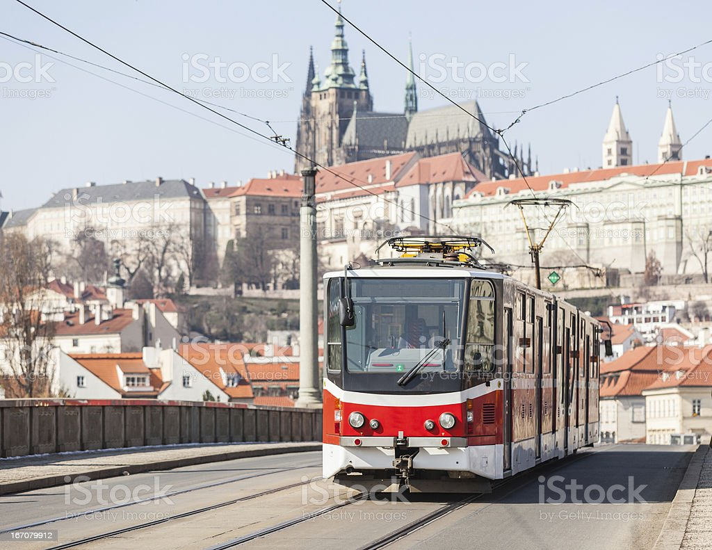 Tram in Prague and Castle royalty-free stock photo
