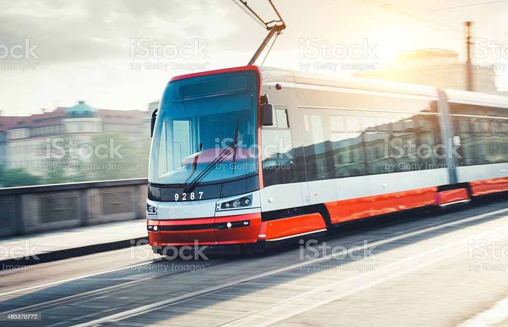 Tram In Prague stock photo