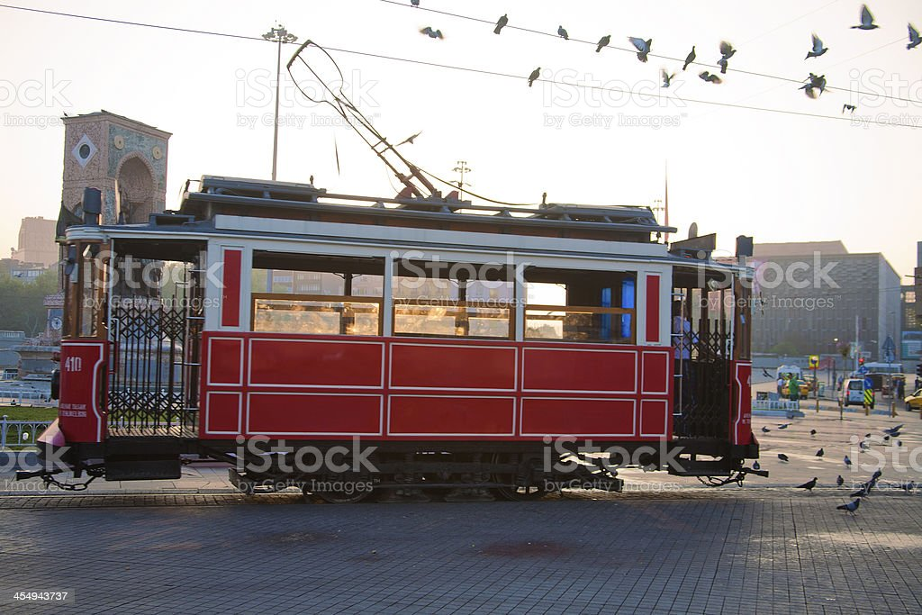 Tram in Taksim Square, Turkey stock photo