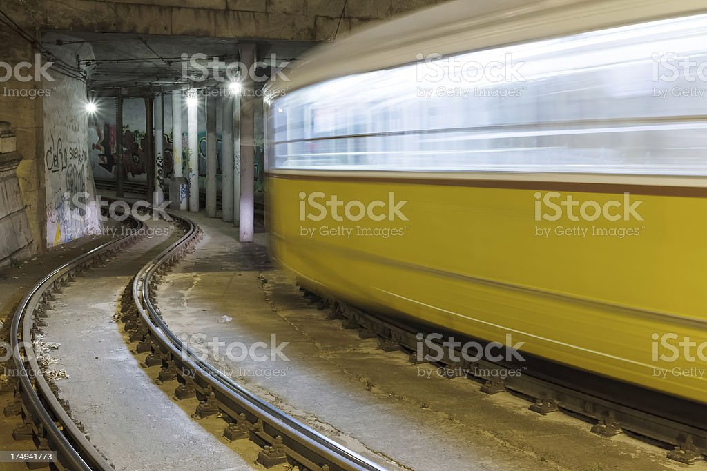 Tram in the tunnel royalty-free stock photo