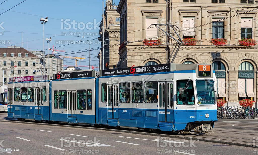 Tram in Zurich stock photo