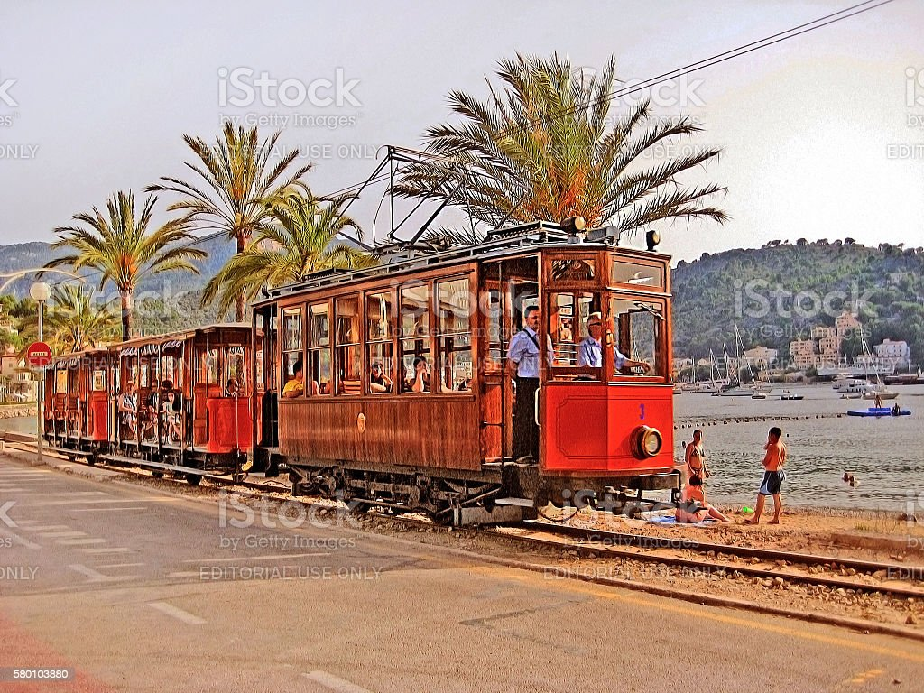 Tram of Soller - Port de Soller, Majorca stock photo