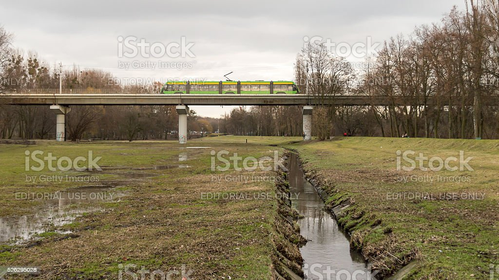 Tram on a viaduct stock photo