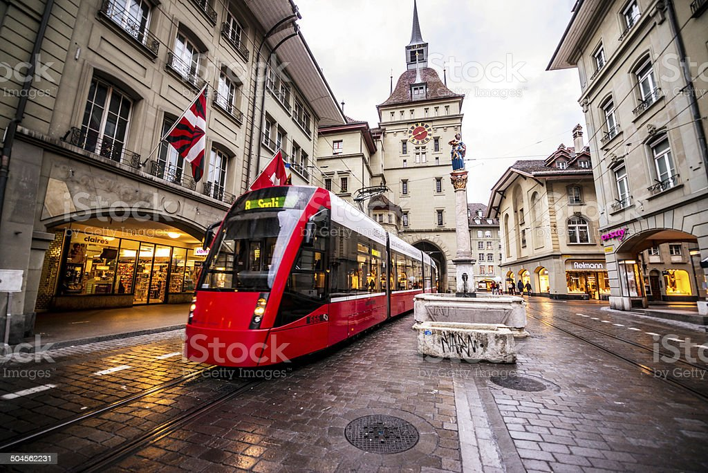 Tram on Bern street, Switzerland stock photo