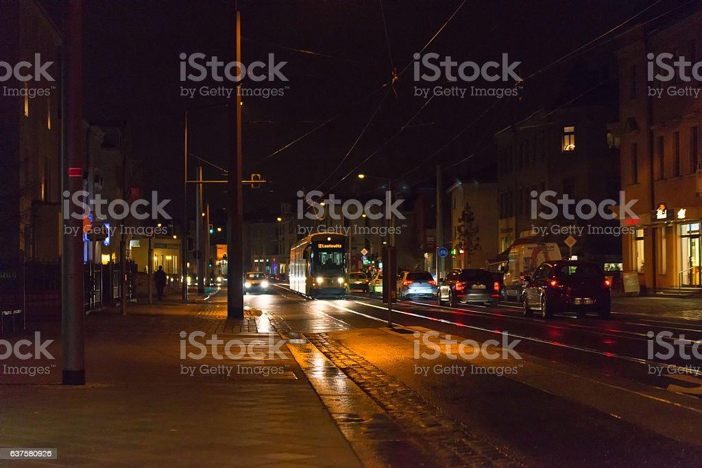 Tram on the street in Dresden stock photo
