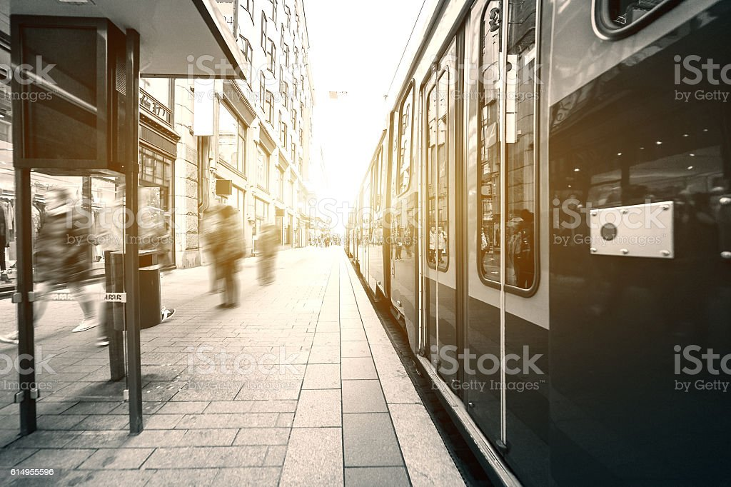 Tram on the street stock photo