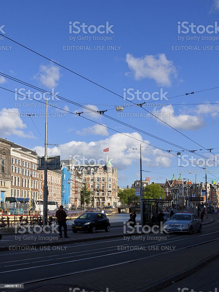 Tram Overhead Line in Historic Part of Amsterdam. royalty-free stock photo