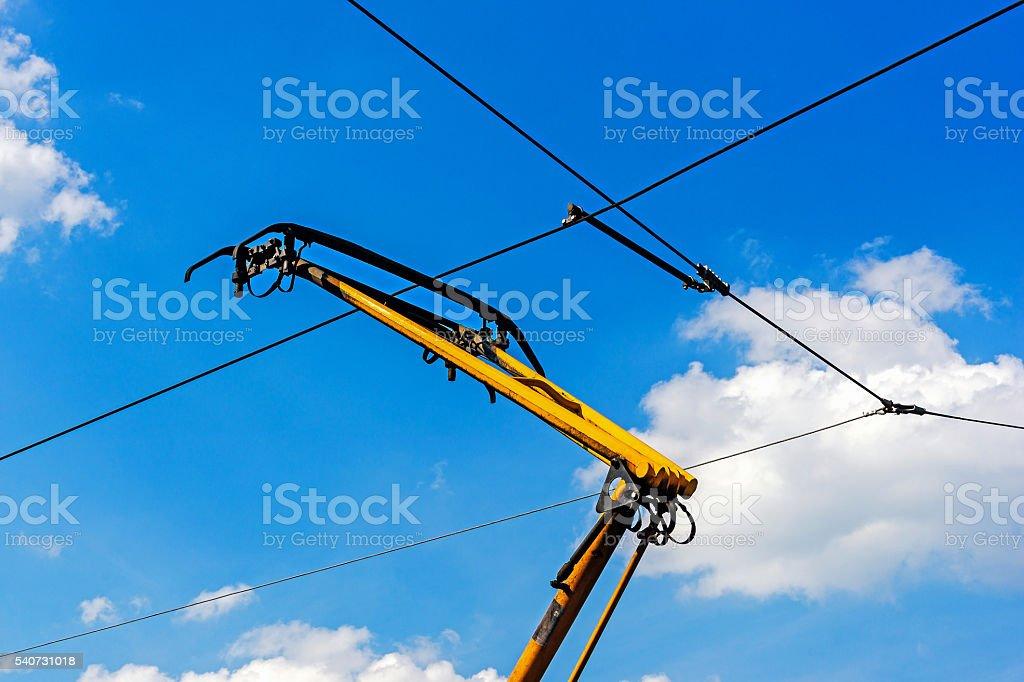 Tram overhead pantograph stock photo