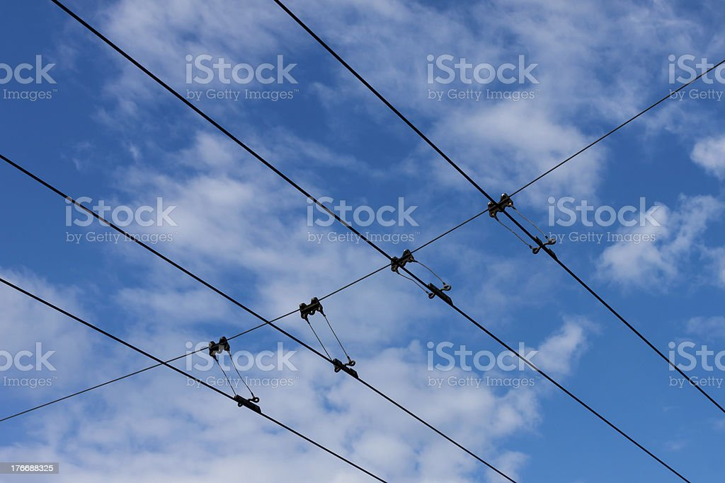 Tram power lines royalty-free stock photo