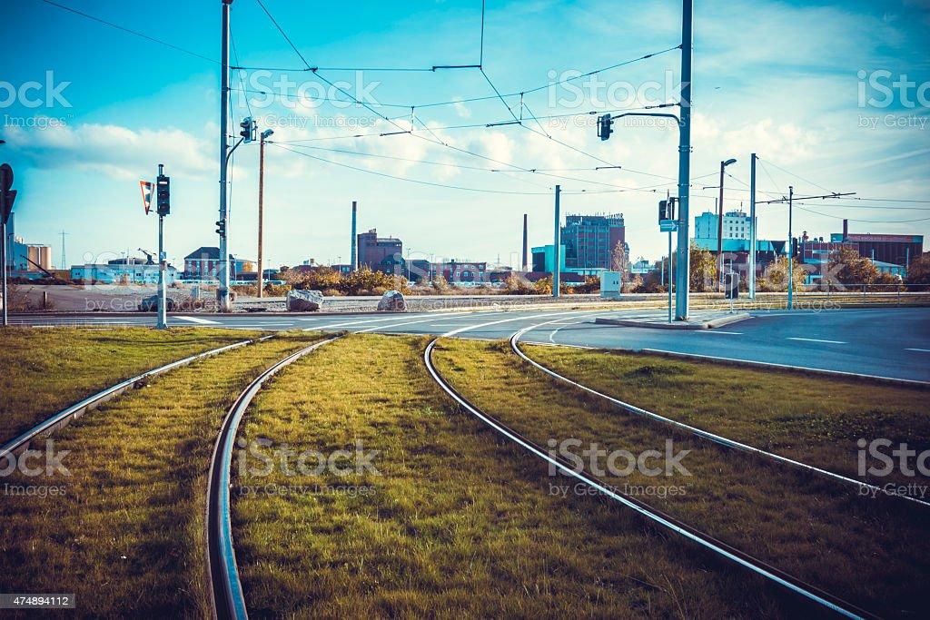Tram rails. stock photo