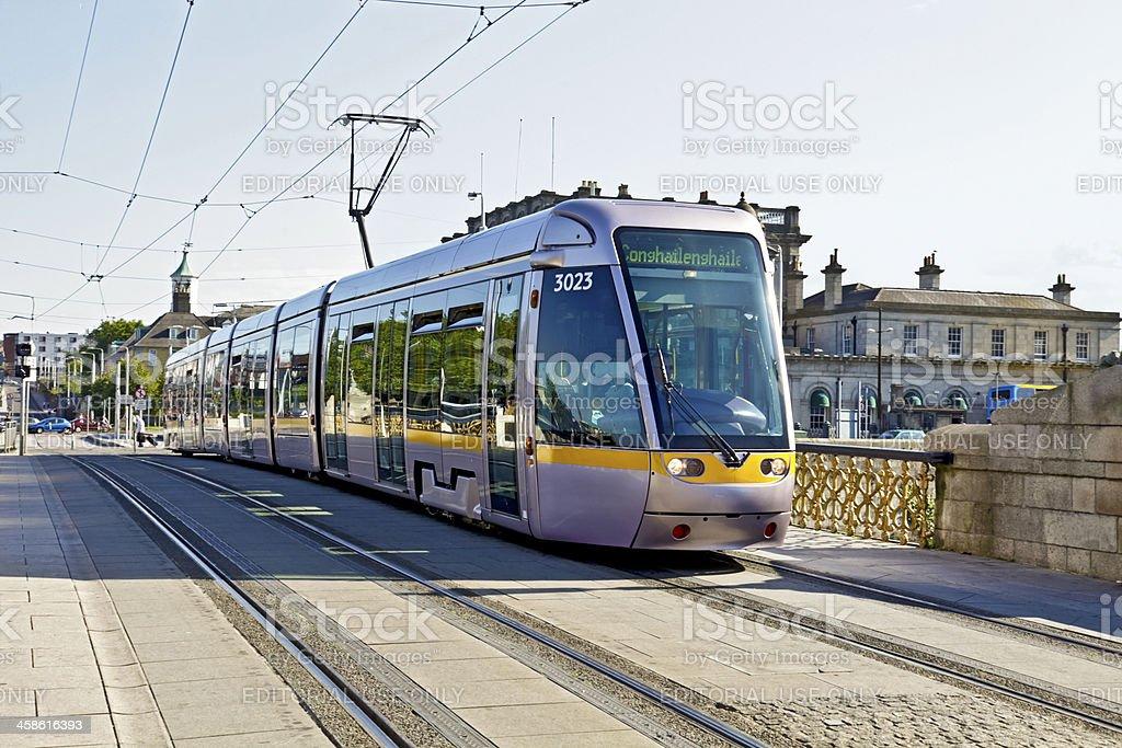 LUAS tram: Sean Heuston Bridge, Dublin stock photo