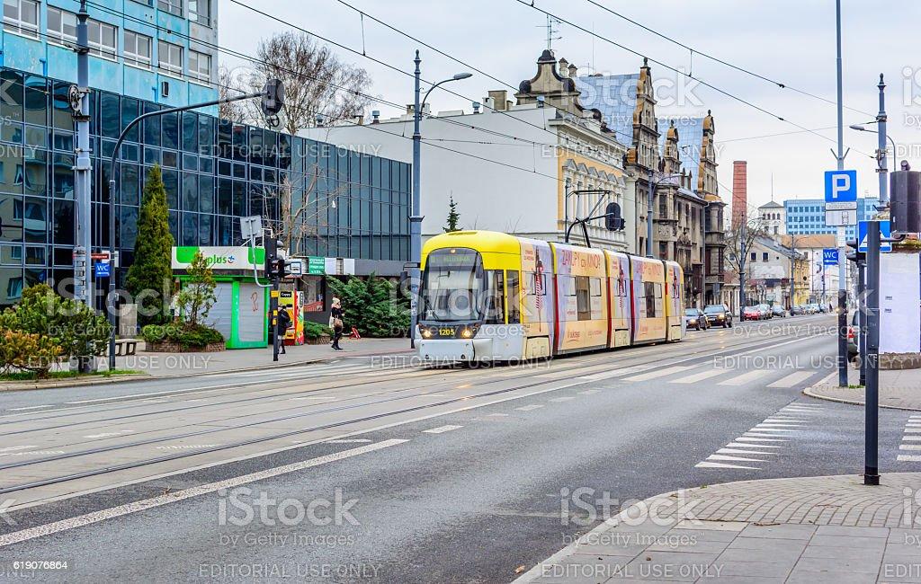 Tram service in Lodz stock photo