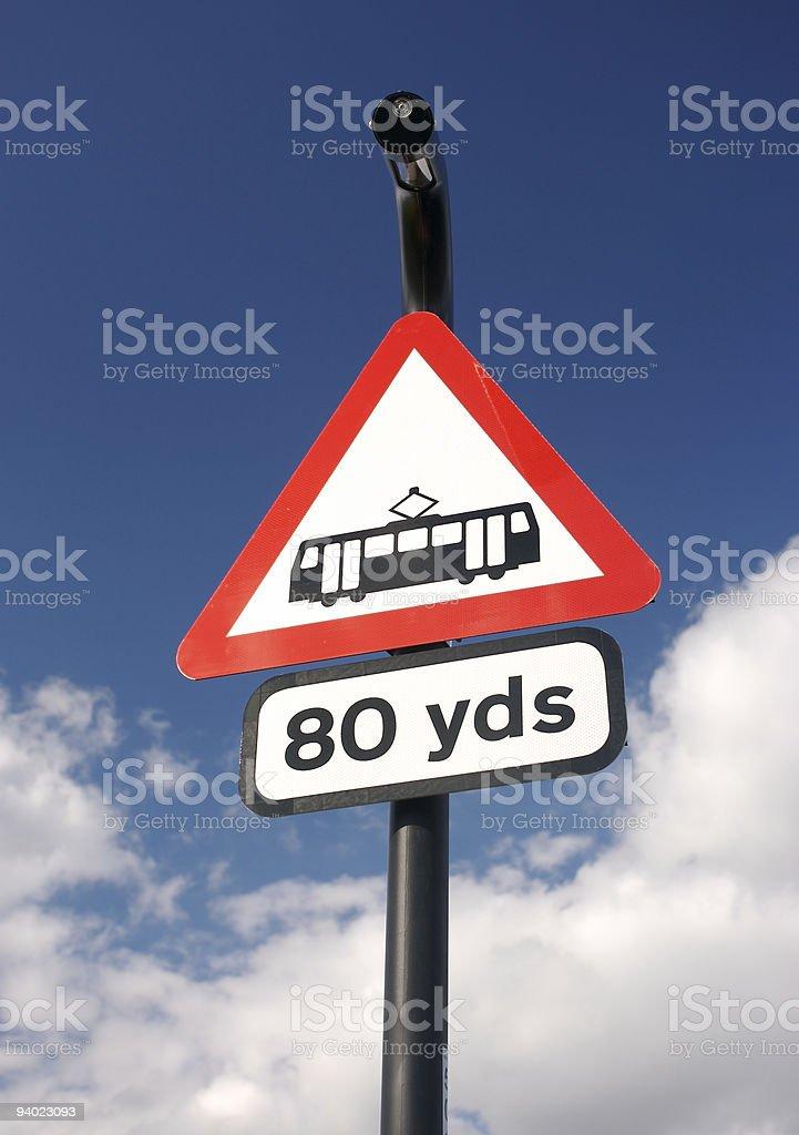 Tram Sign stock photo