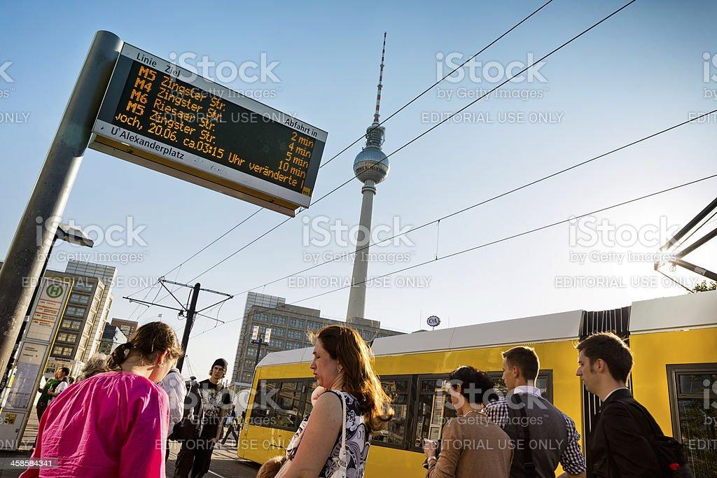 Tram stop at Alexanderplatz Berlin royalty-free stock photo