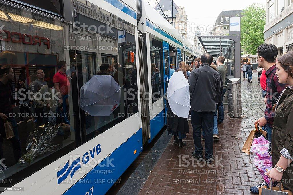 Tram stop in Amsterdam stock photo