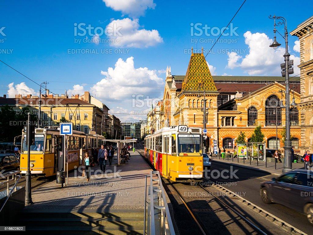 Tram Stop in Budapest, Hungary stock photo
