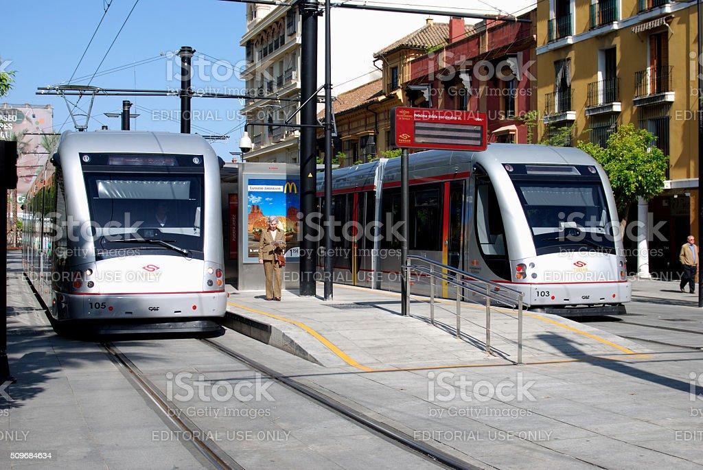 Tram stop, Seville. stock photo