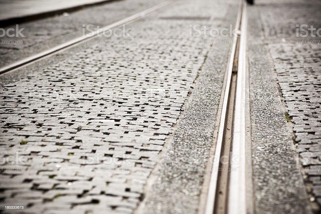 Tram tracks in Dublin, Ireland royalty-free stock photo