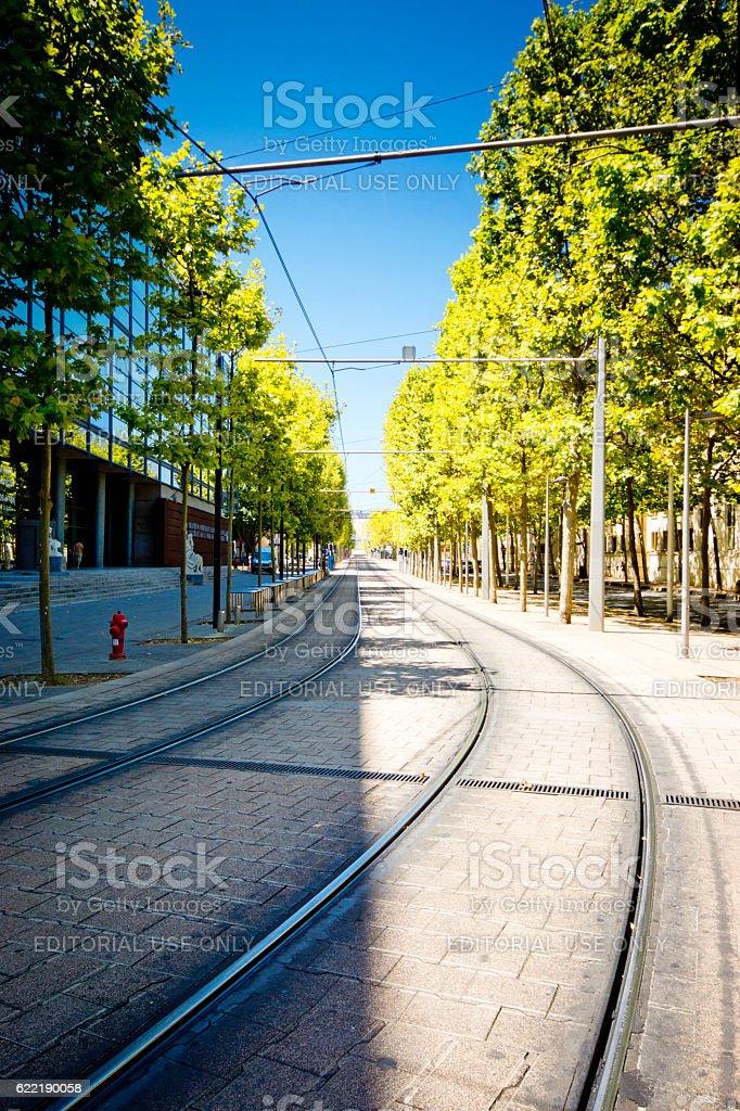 Tram tracks in Montpellier stock photo
