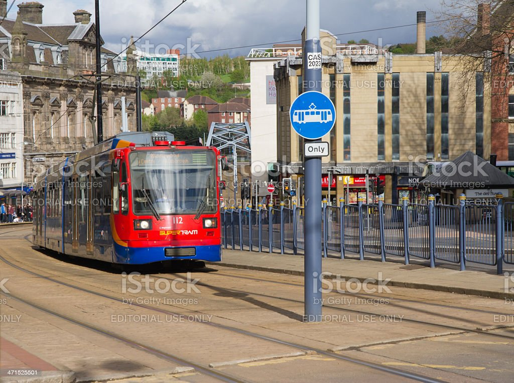 Tram transport in Sheffield UK stock photo