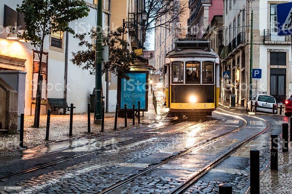 tram tranvia lisboa lisbon blank rain reflection light flare stock photo