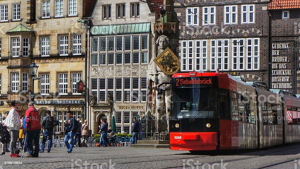 Tram trolley in Bremen, Germany stock photo