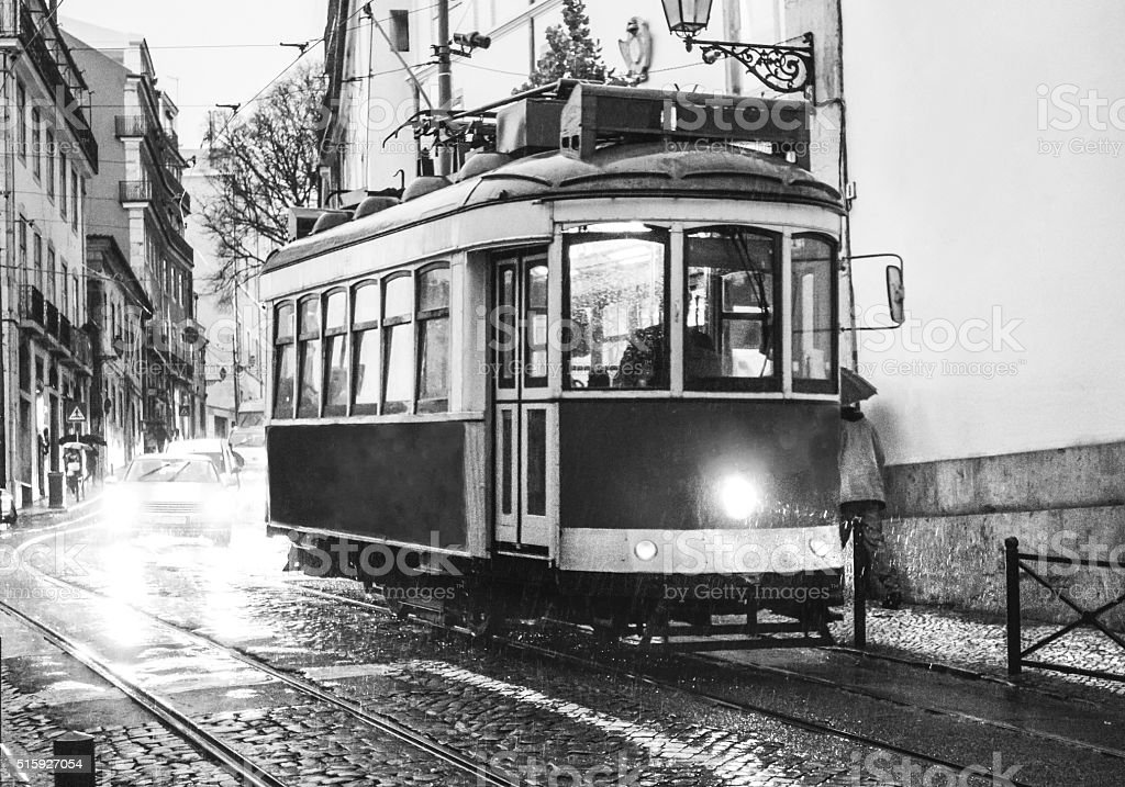 tram yellow lisboa lisbon black white reflection light flare stock photo