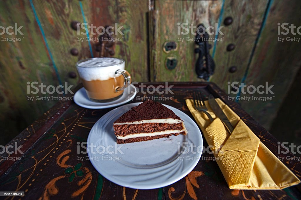 tramisu desert with a americana cafe on a antique display stock photo
