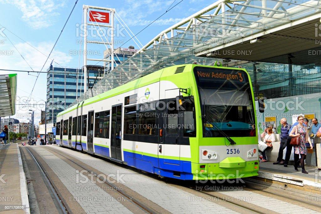 Tramlink tram stops outside East Croydon Railway Station stock photo