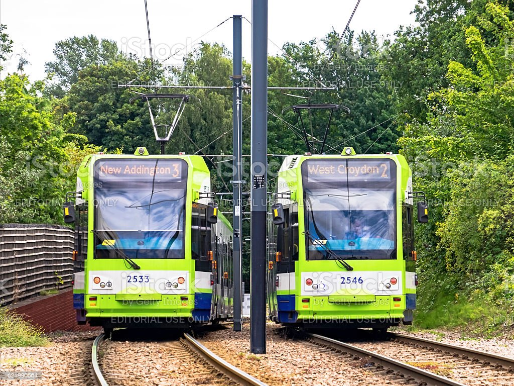 Tramlink trams pass near the junction at Sandilands stock photo