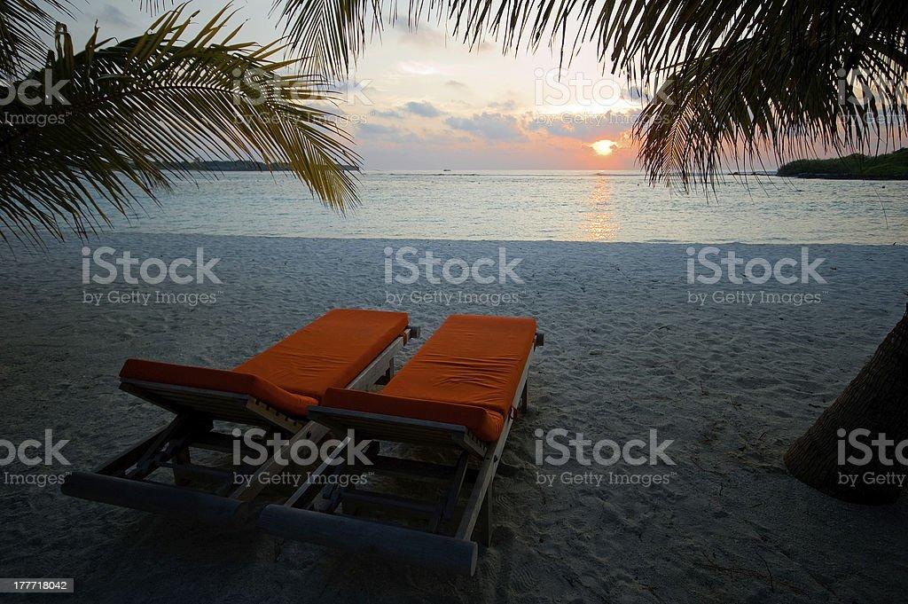 Tramonte alle Maldive stock photo