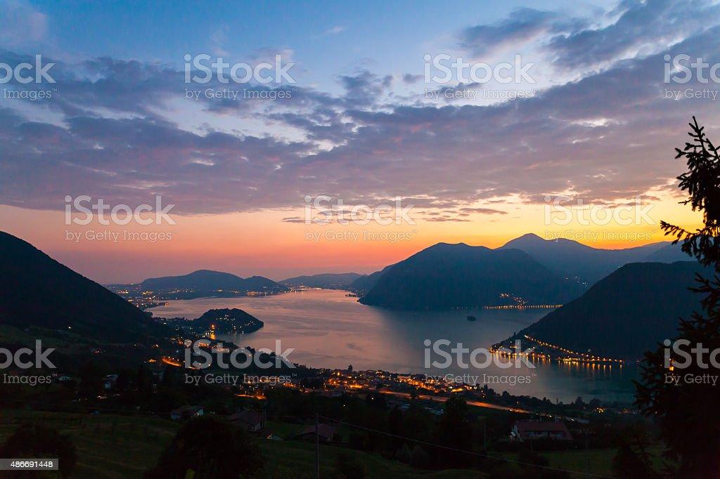 Tramonto sul Lago d'Iseo stock photo