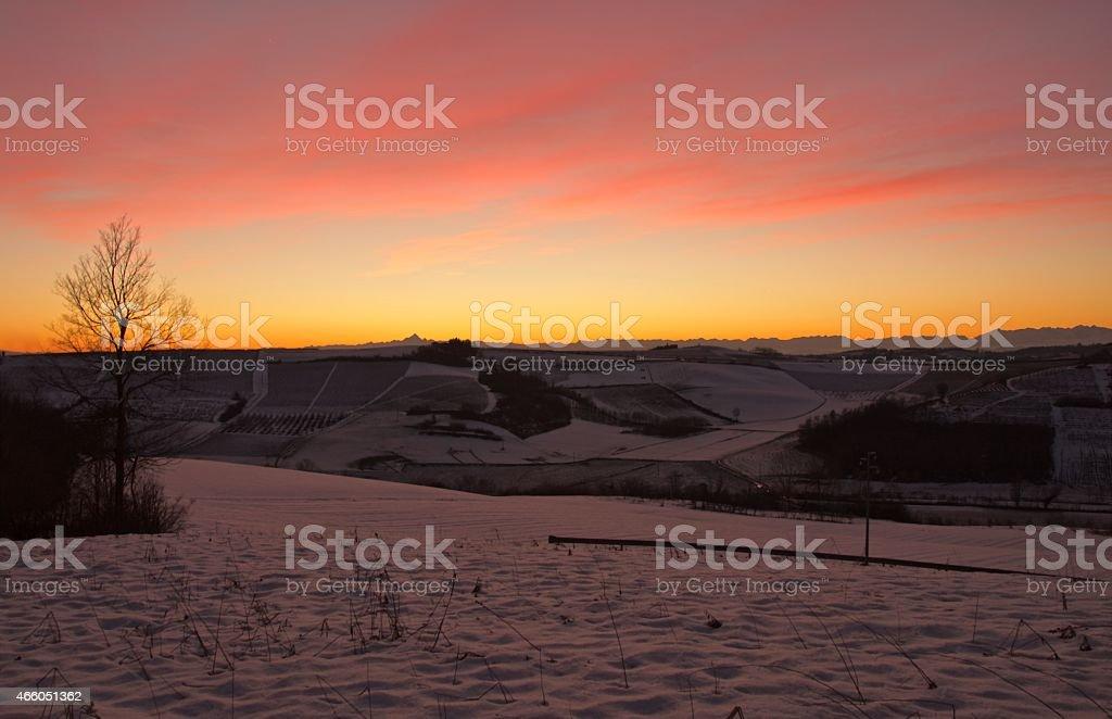 Tramonto sulle colline del Monferrato stock photo