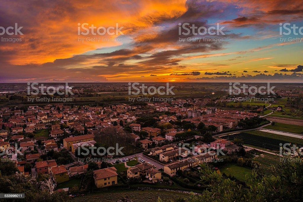 tramonto toscano stock photo