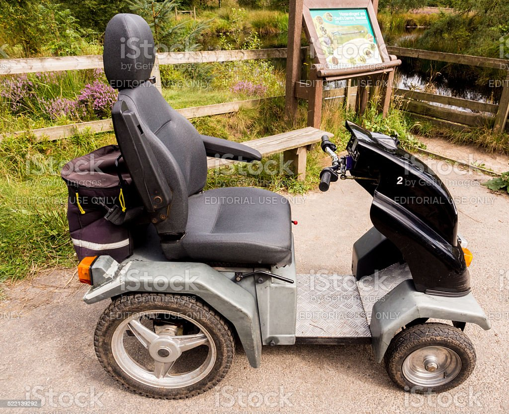 Tramper Mobility Scooter, Beacon fell, Lancashire, Sepotember 4th 2015 stock photo