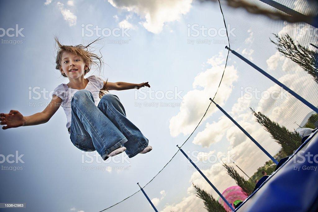 Trampoline fun stock photo