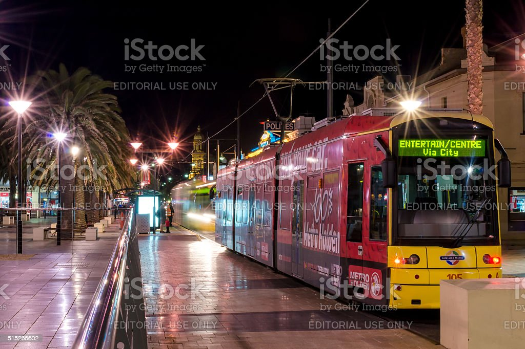 Trams at Moseley Square, Glenelg stock photo