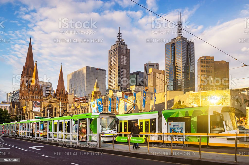 Trams before Melbourne Skyline stock photo