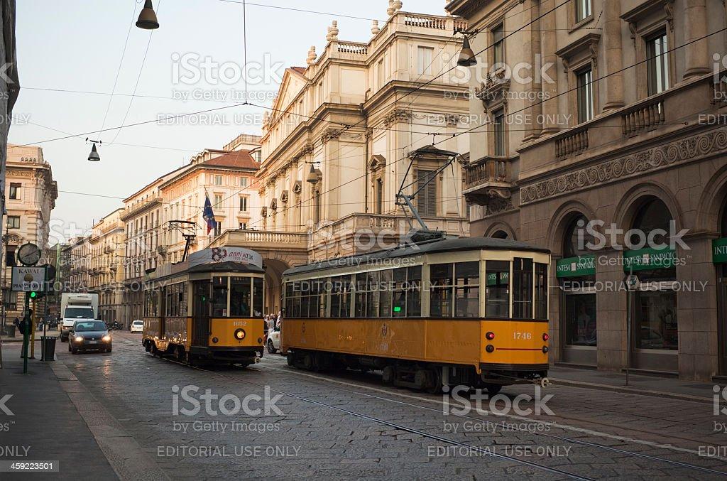 Trams in Milan stock photo