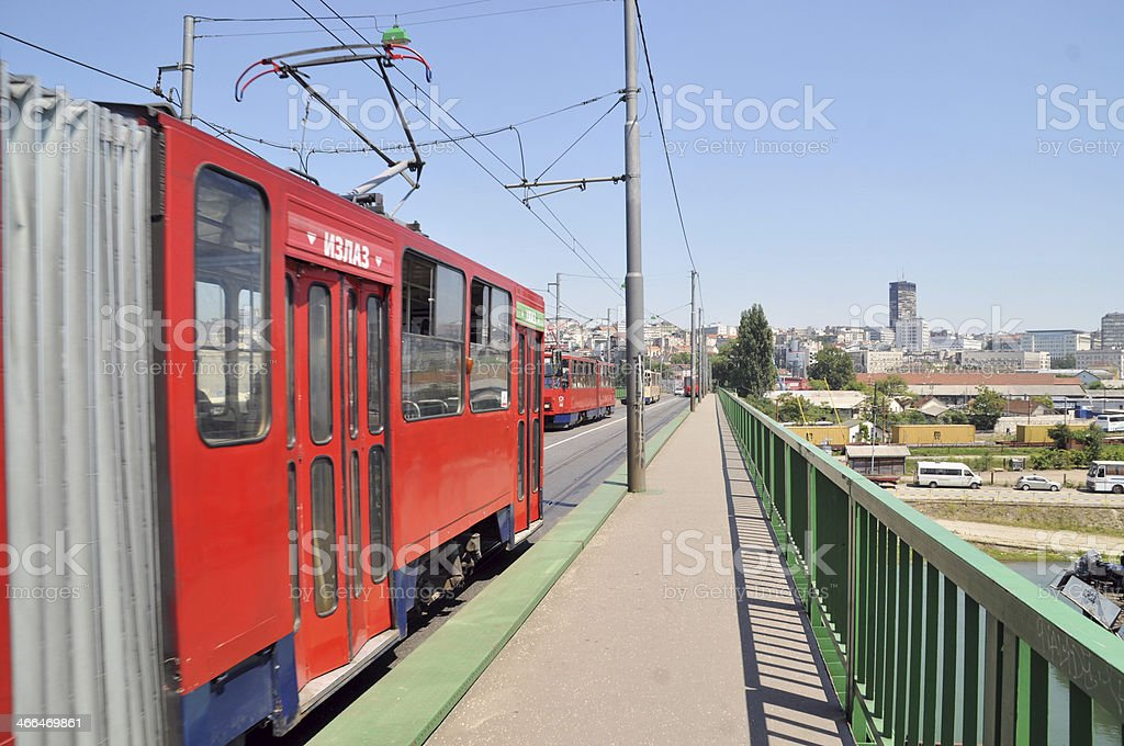 Trams in the encounter stock photo