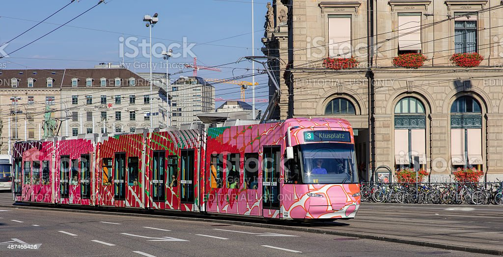 Trams in Zurich stock photo