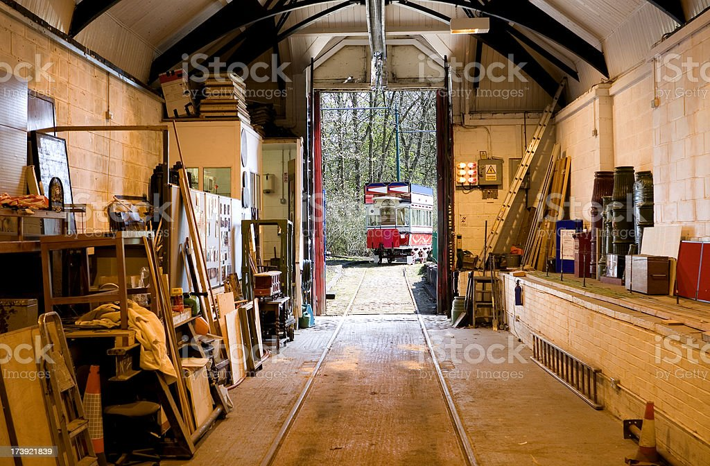 Tramshed / streetcar depot stock photo