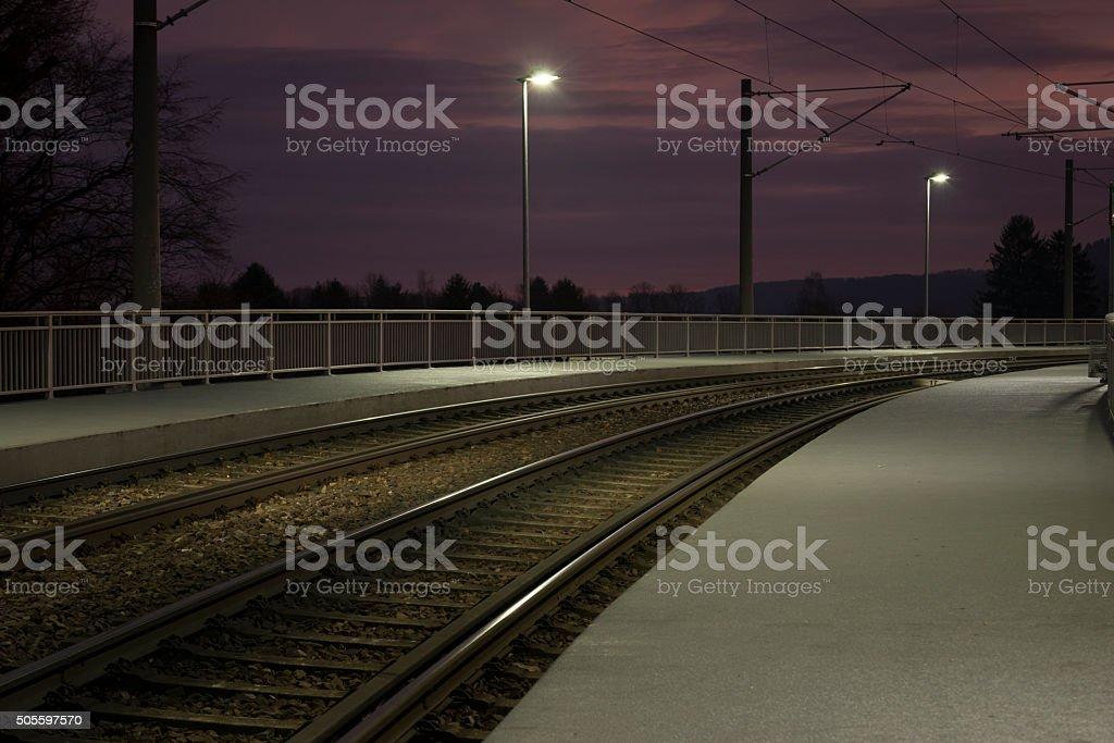 Tram-Station at night stock photo