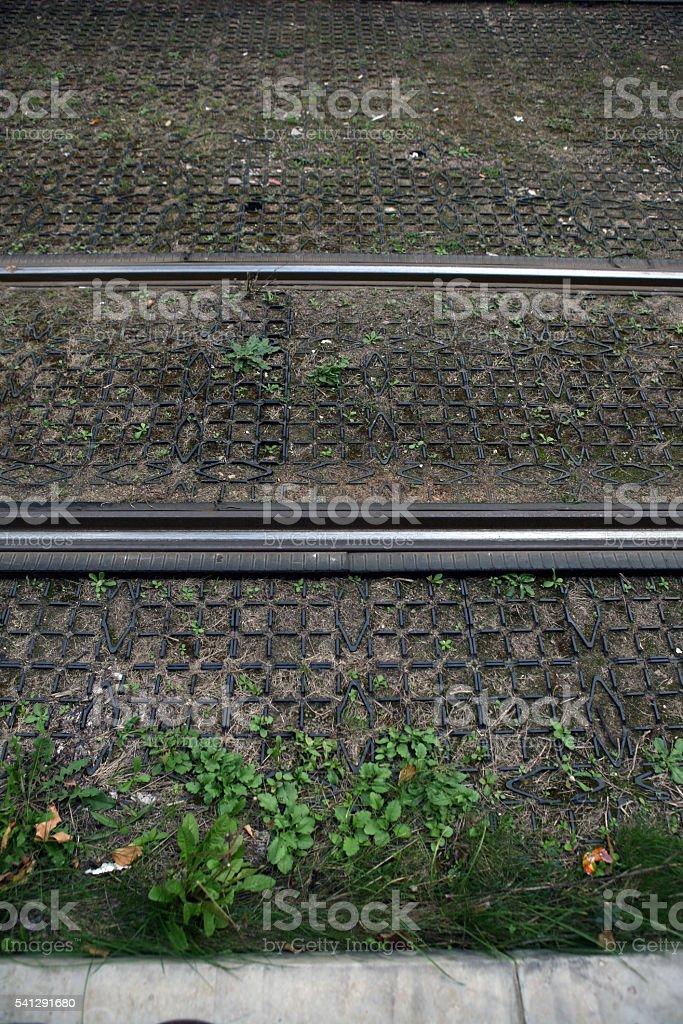 Tramway city rails stock photo