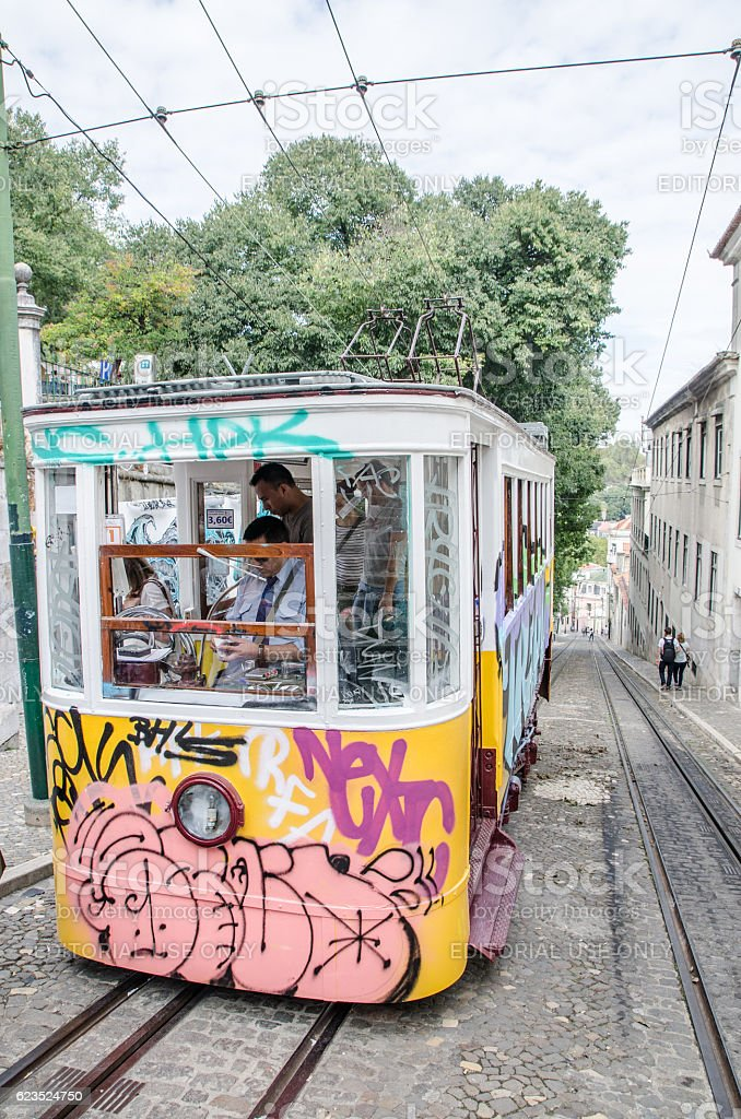 Tramway elevator full of graffitis on Calcada da Gloria stock photo