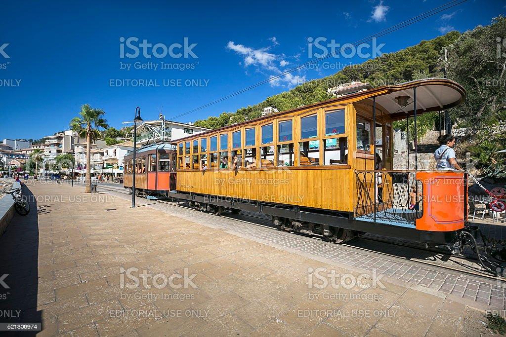 Tramway in Port De Soller, Majorka stock photo